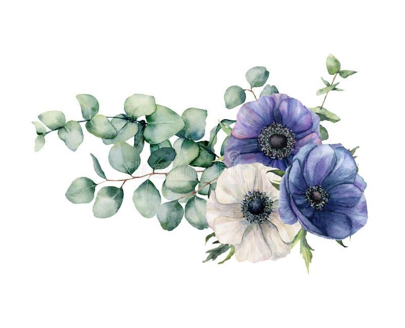 Assymetrisk bukett för vattenfärg med eukalyptuns och anemonen Handen målade blåa och vita blommor, eukalyptussidor och vektor illustrationer