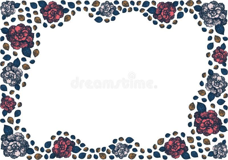 Assymetrisk krabb ram av knoppar och sidor av rosor stock illustrationer