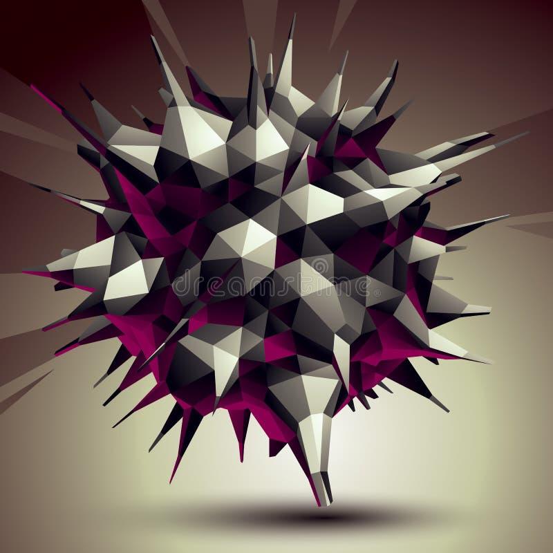 Assymetriskt 3D abstrakt objekt, monokrom geometrisk rumslig form vektor illustrationer