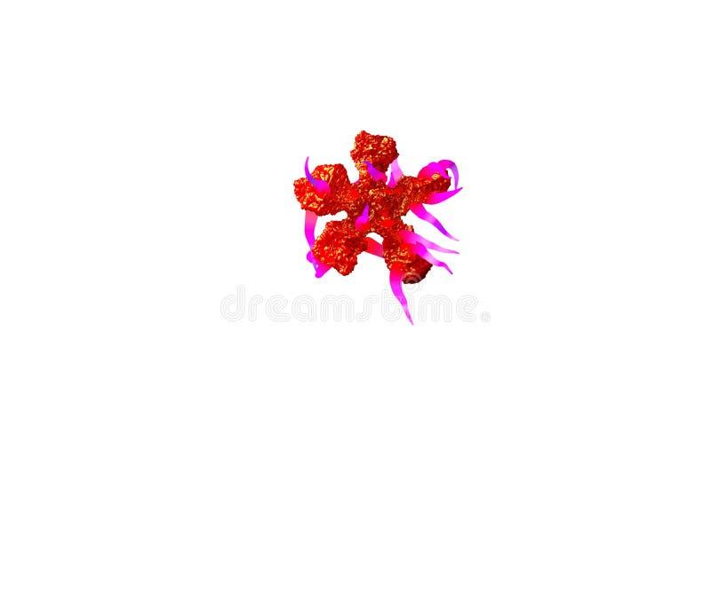 Astérisque d'alphabet étranger terrible - boue rouge avec les tentacules pourpres d'isolement sur le fond blanc, illustration 3D  illustration de vecteur