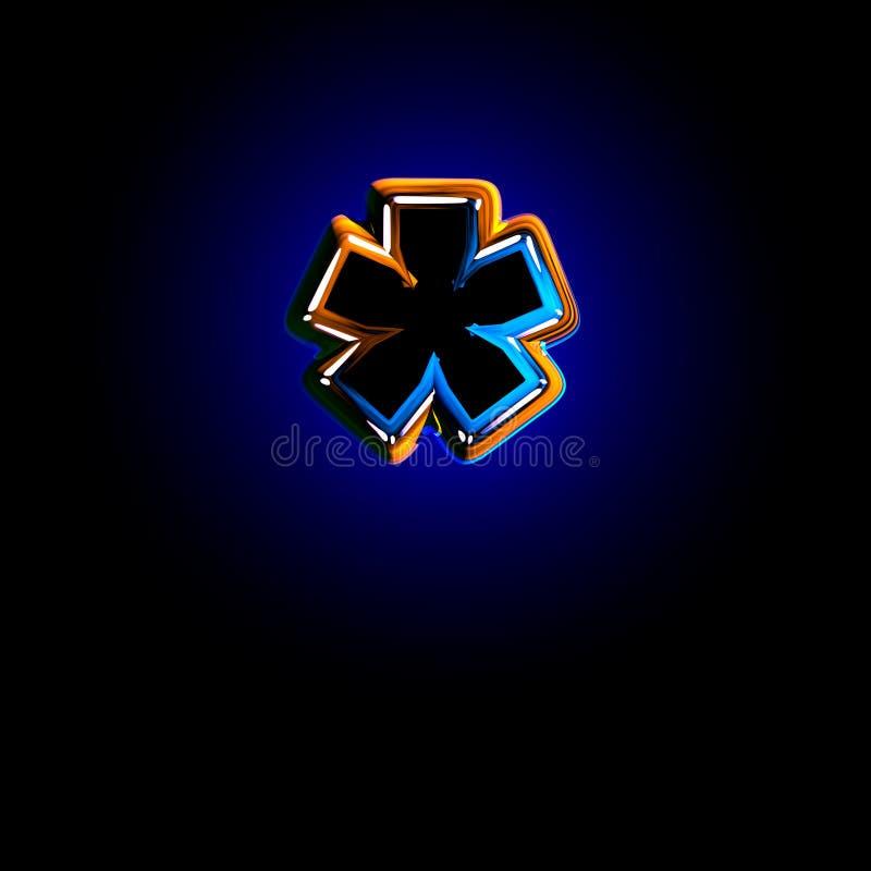 Astérisque d'alphabet bleu-foncé vitreux d'éclat d'isolement sur le fond noir - illustration 3D des symboles illustration libre de droits