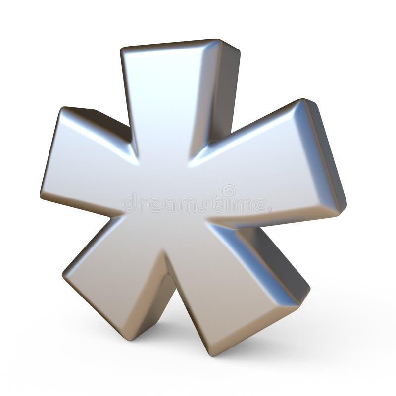 ASTÉRISQUE 3D de police en métal illustration de vecteur