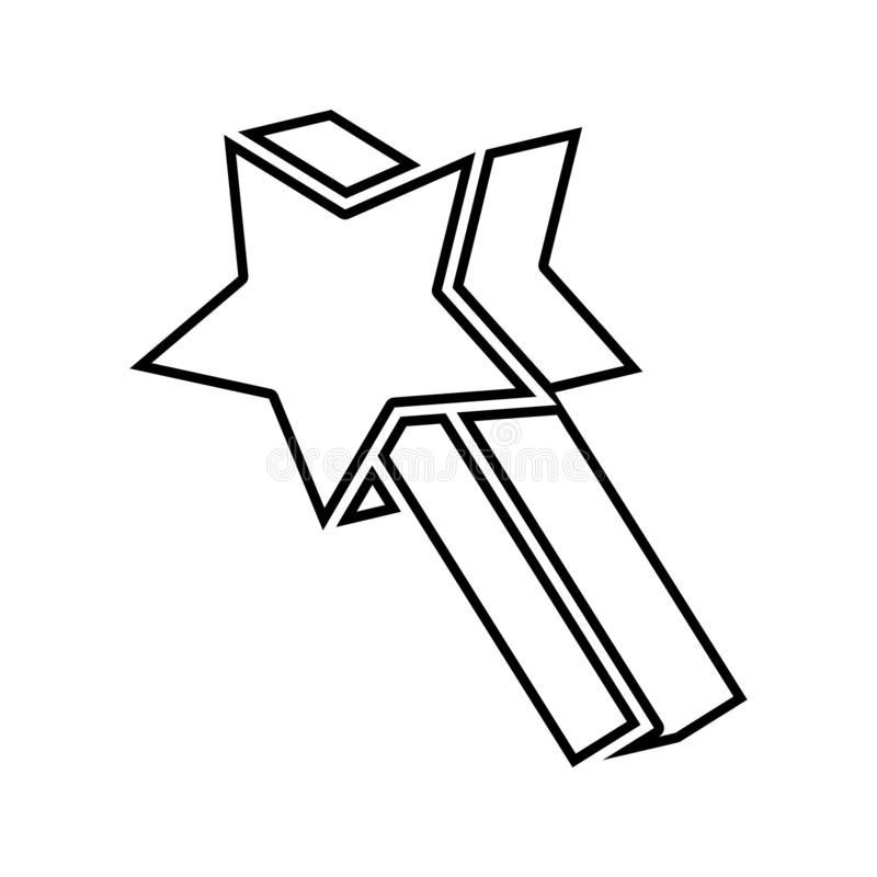 astérisque dans l'icône de jeu Élément de sécurité de cyber pour le concept et l'icône mobiles d'applis de Web Ligne mince icône  illustration libre de droits