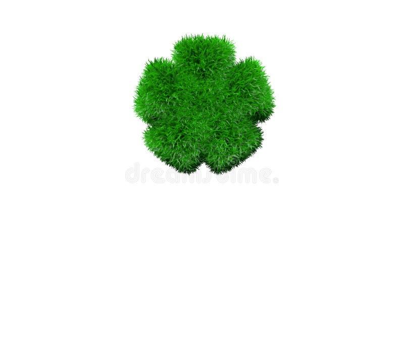 Astérisque fait en herbe verte d'isolement sur blanc, concept de nature - illustration 3D des symboles illustration libre de droits