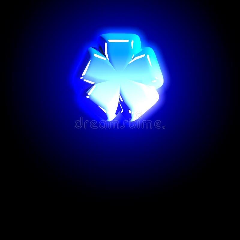 Astérisque gelé de glace d'alphabet poli bleu de fête rougeoyant d'isolement sur noir - illustration 3D des symboles illustration libre de droits