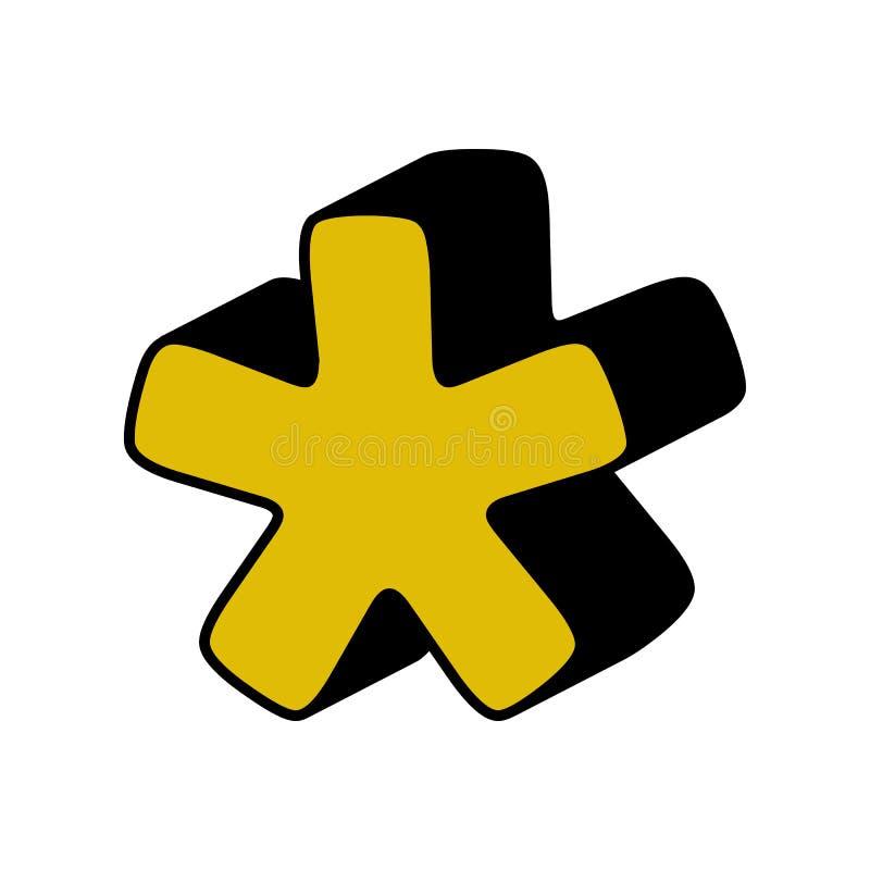astérisque, icône 3D Élément d'alphabet de la couleur 3D pour des applis mobiles de concept et de Web L'astérisque détaillé, l'ic illustration stock
