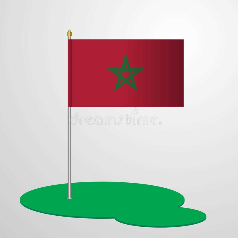 Asta de bandera de Marruecos ilustración del vector