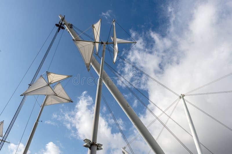 Asta della torre, porto di Genova (Italia) fotografie stock libere da diritti