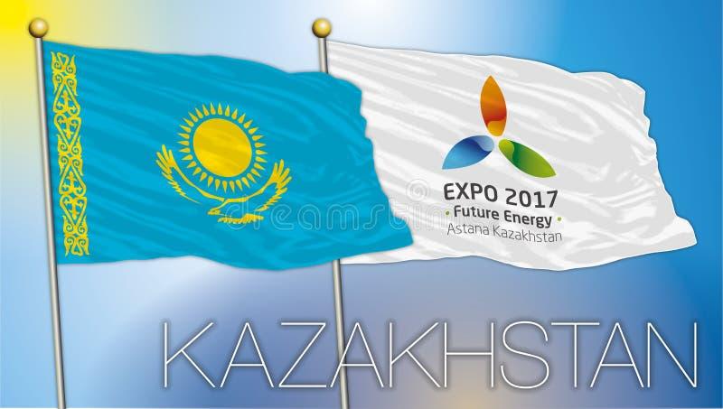 ASTANÁ, KAZAJISTÁN/junio de 2017 - expo 2017 y banderas y símbolos de Kazajistán libre illustration