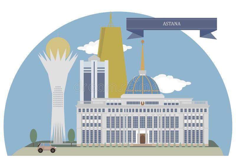 Astana, capital de Cazaquistão Lugares famosos ilustração do vetor