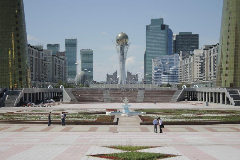 Astana centrum miasta, przegapia Baiterek obraz stock