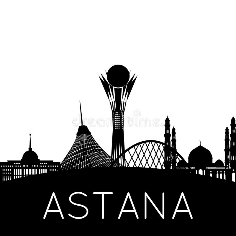 Astana city silhouette stock images