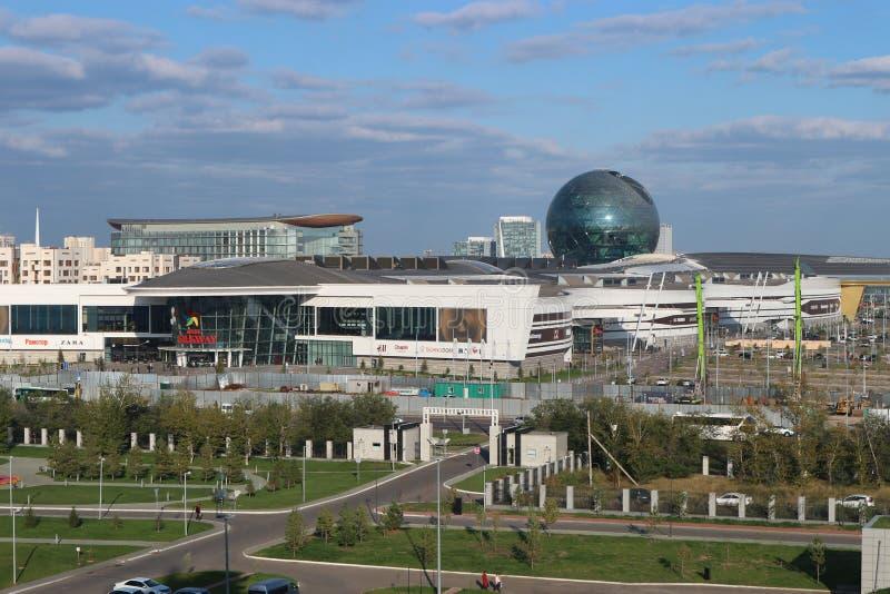 Astana Kasakhstan, September 13th 2018, sikt av byggnaden av 'Astana EXPO-2017 ', arkivfoto