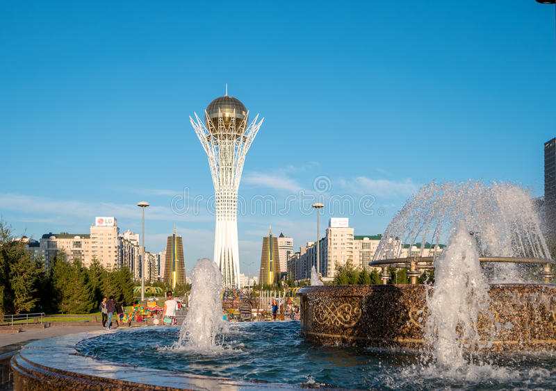 Astana, Kazakhstan - August 12, 2016: The center of the new Astana, Baiterek on a background of a fountain stock image