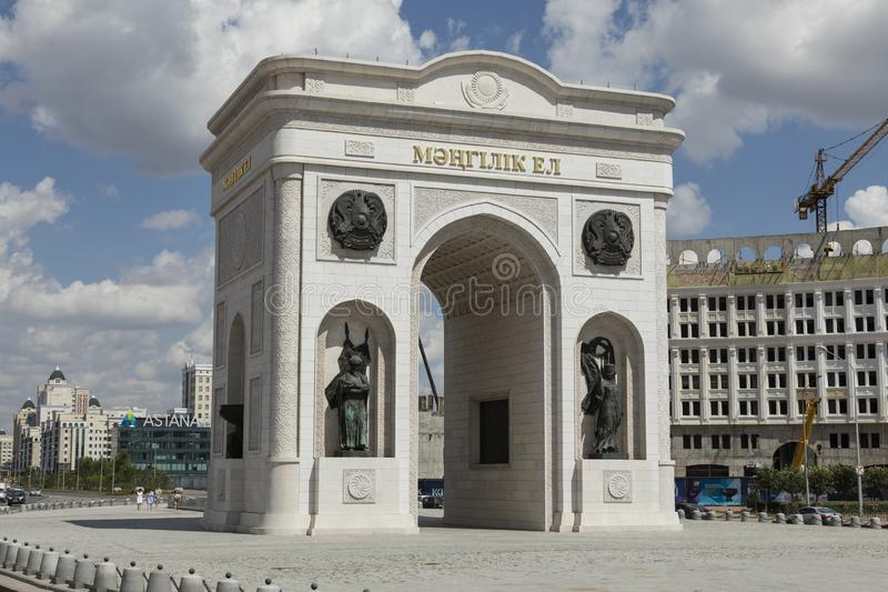 Astana, Kazakhstan, August 2 2018: New triumphal arch in Astana royalty free stock photo