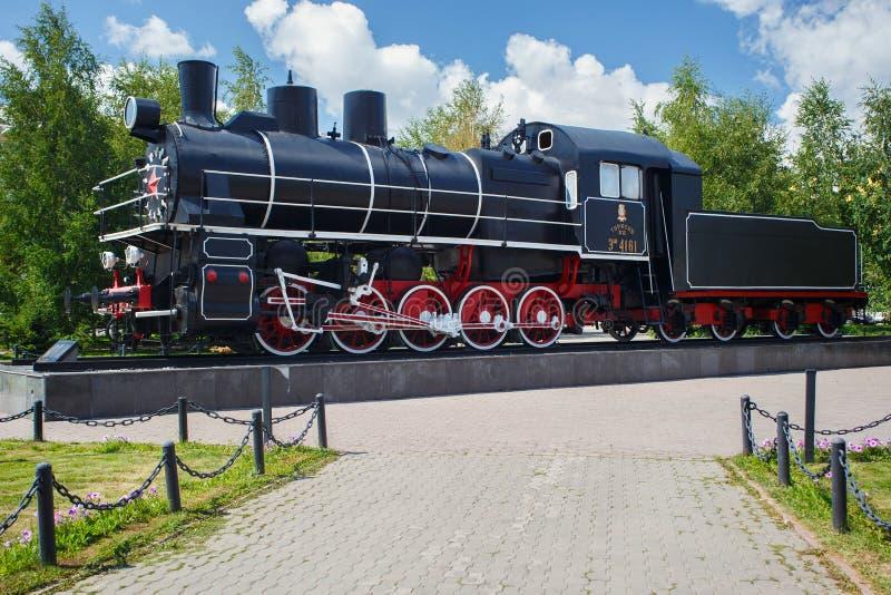 ASTANA, KAZAKHSTAN - 25 JUILLET 2017 : R?tro locomotive ? vapeur sovi?tique Esh-4161 ? Astana image stock