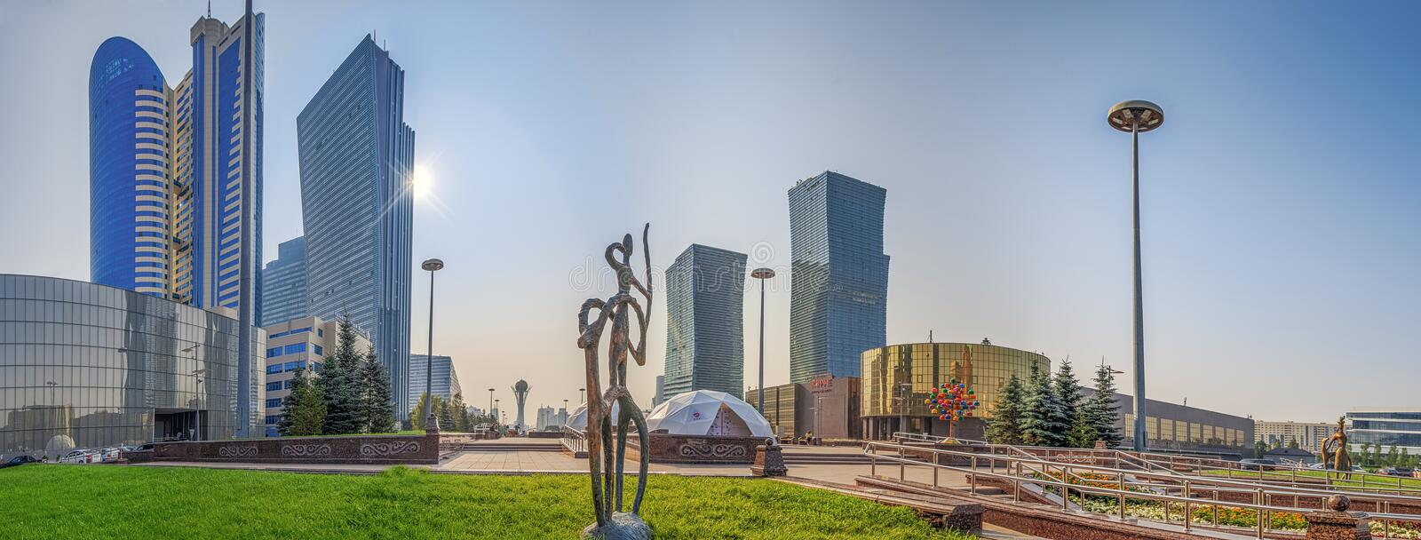 ASTANA, KAZAKHSTAN - JULY 7, 2016: Morning panorama of the water-green boulevard. stock images