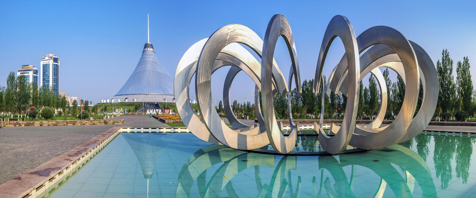 ASTANA, KAZAKHSTAN - JULY 7, 2016: Morning reflection in the Fountain of Love royalty free stock photo