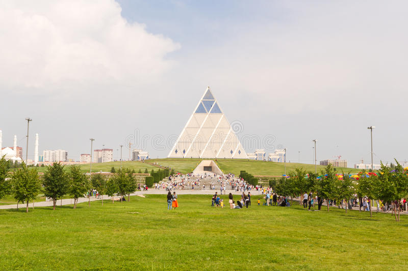 Astana, Kazakhstan - July 6, 2016: the Palace of peace and accord. View the modern architecture the buildings. royalty free stock photos