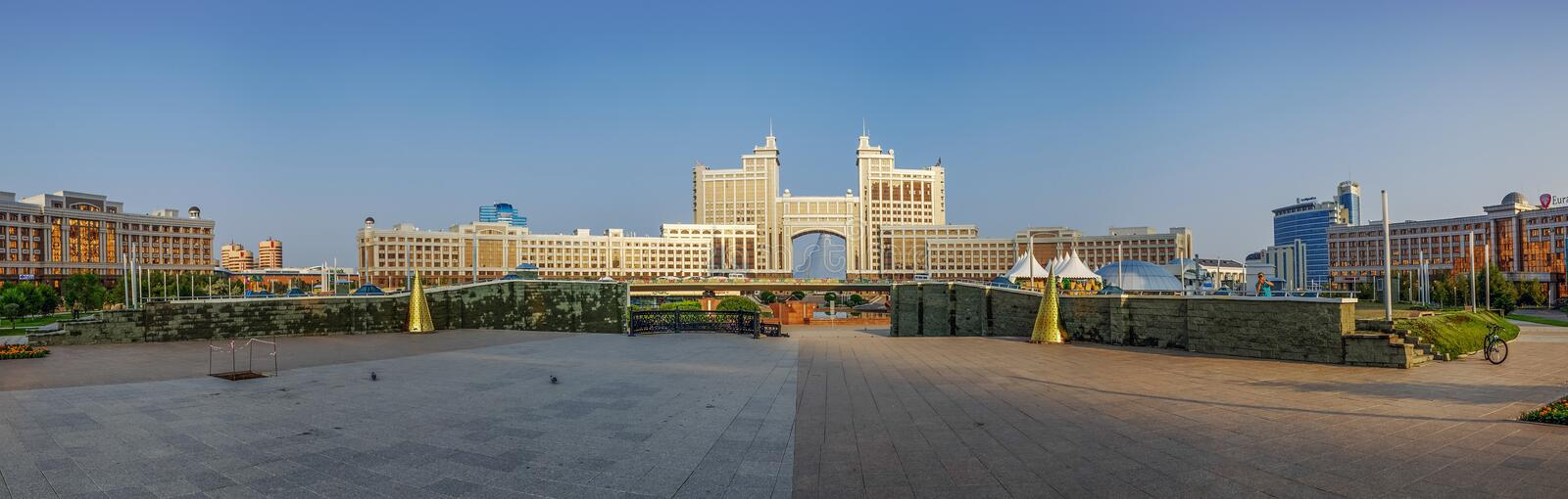 ASTANA, KAZAKHSTAN - JULY 7, 2016: Panorama of the administrative center of Astana in the morning light stock photo