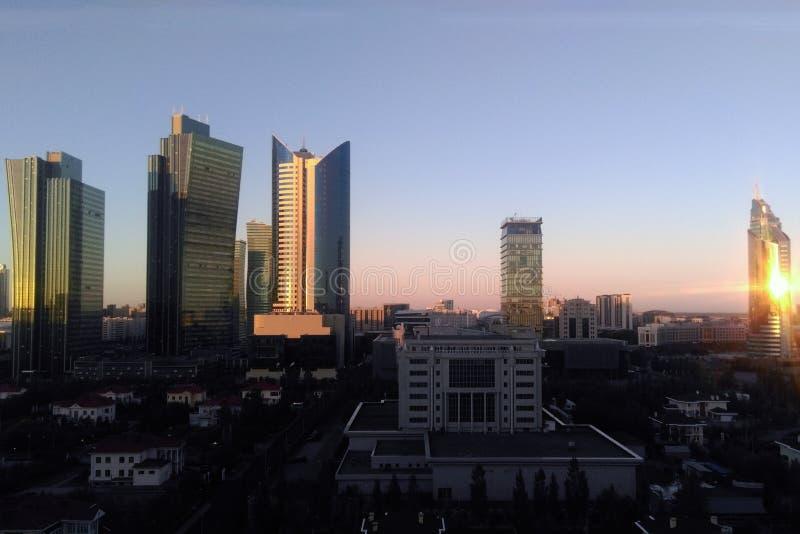 Astana, Kazakhstan - June 5, 2017: city in the morning at sunrise.  royalty free stock image