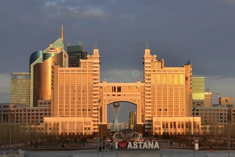astana kazakhstan Kwiecień 03 Budynki Astana, Kazachstan na 3 Kwietniu obrazy royalty free