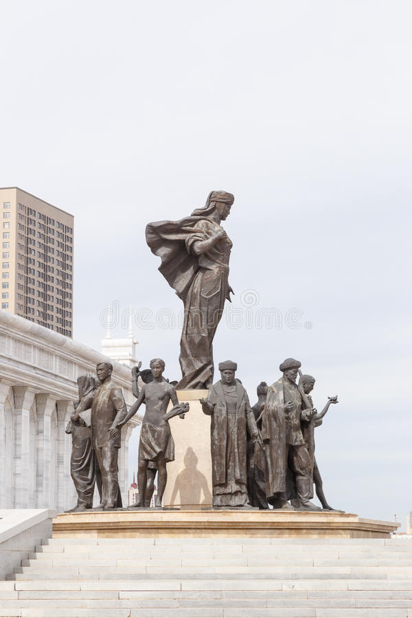 Astana, Kazakhstan - September 3, 2016: The area of Kazakhstan`s. Independence, the monument Kazak Eli on a background of clouds royalty free stock photo
