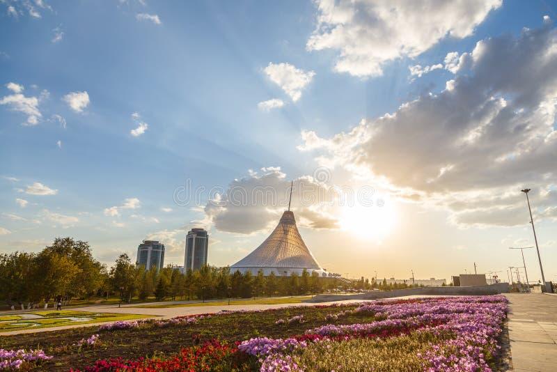 Astana, Kazakhstan - September 5, 2016: Khan Shatyr shopping center in backlit sunset light of the sun royalty free stock image