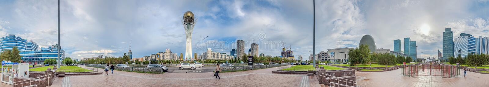 ASTANA, KAZAKHSTAN - JULY 1, 2016: Panorama of 180 degrees from the center of Astana. royalty free stock photos