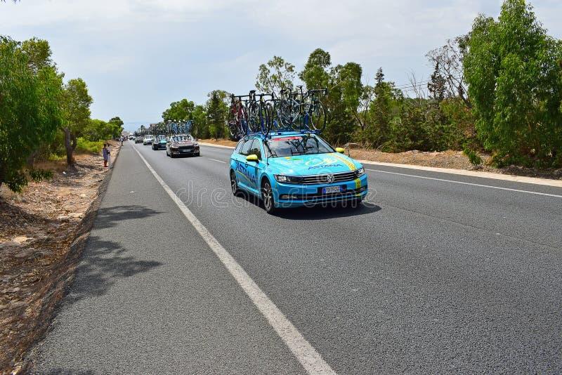 Astana pro-Team Car La Vuelta España royaltyfria bilder