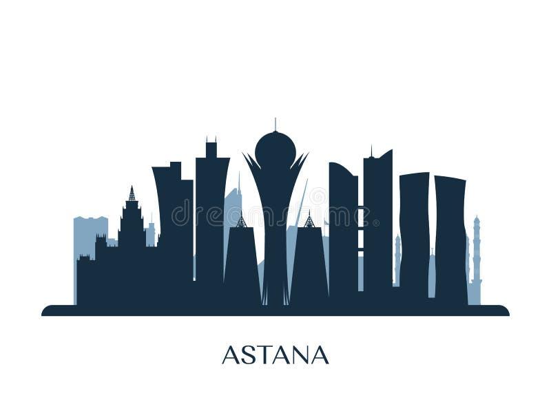 Astanahorizon, zwart-wit silhouet stock illustratie