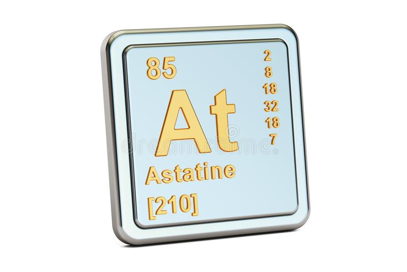 Astatine At, chemical element sign. 3D rendering royalty free illustration