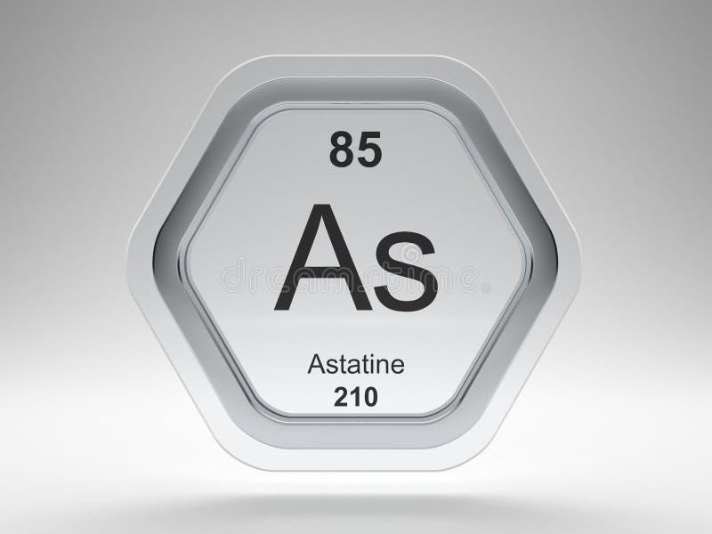 Astatine symbol hexagon frame royalty free illustration
