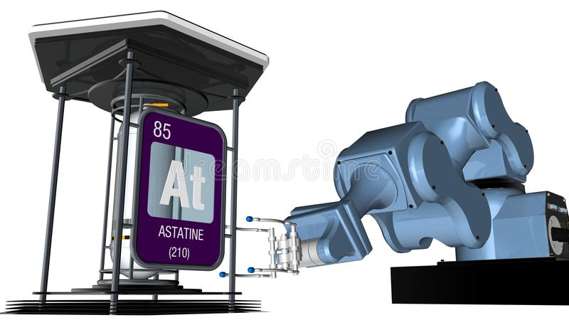 Astatine symbol in square shape with metallic edge in front of a mechanical arm that will hold a chemical container. 3D render. Element number 85 of the vector illustration