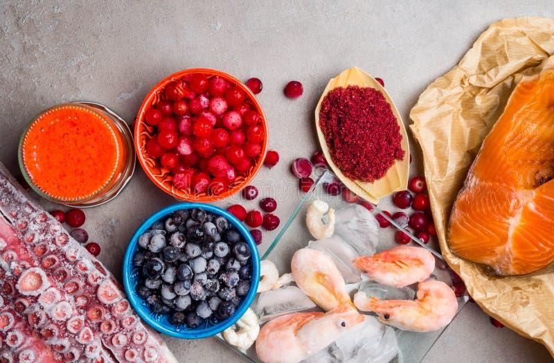 Astaxanthin Healthy Nutrition food, rich in iodine, omega3, antioxidants stock photo