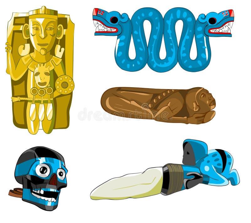 Asteca e esculturas e máscara do Maya. ilustração do vetor