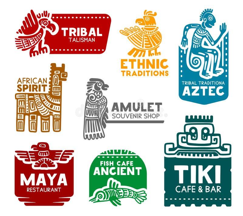 Asteca e símbolos maias, ícones da identidade corporativa ilustração stock