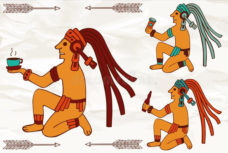 Asteca ou maya colorido de Ámérica do Sul que sentam-se com bebidas ilustração do vetor