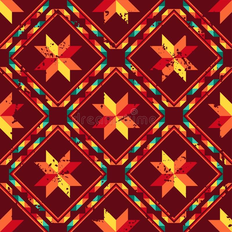 Asteca sem emenda abstrato tribal do teste padrão geométrico ilustração do vetor