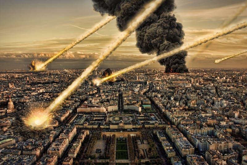 Asteróide e terra: Impacto do meteoro ilustração royalty free
