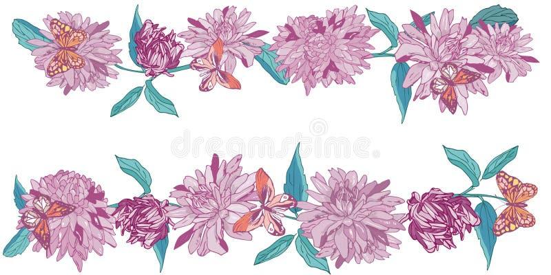Aster con le farfalle, Daisy Flower Border Illustrazione di vettore royalty illustrazione gratis
