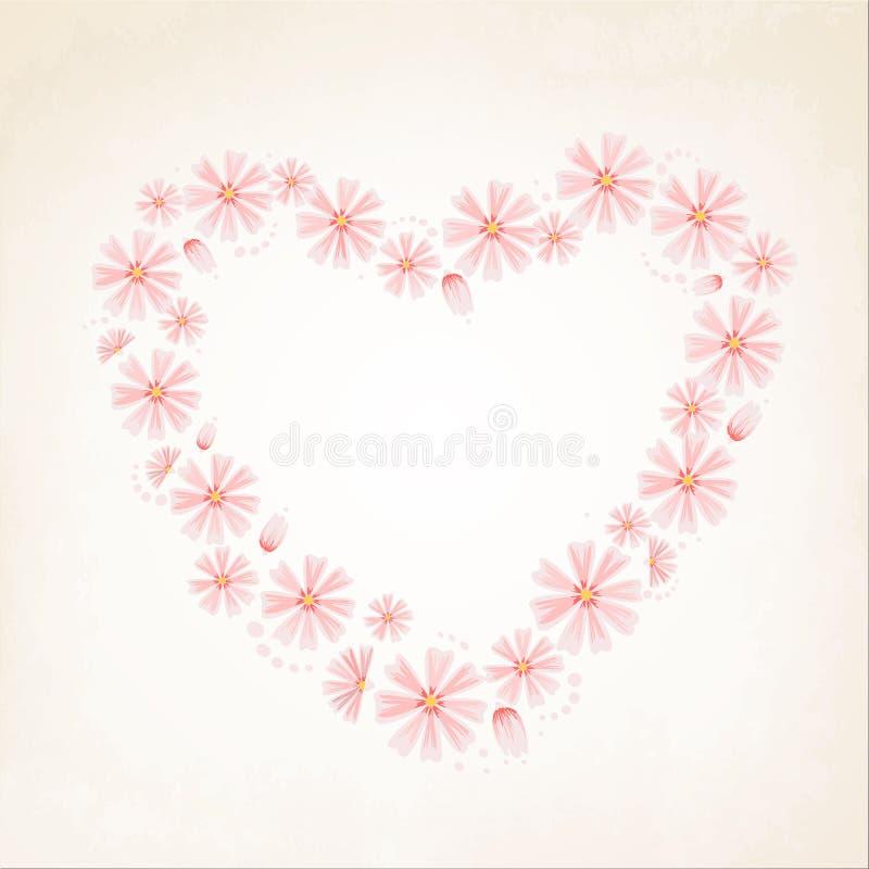 Aster daisy flowers heart shape love concept. Aster daisy flowers forming a heart shape. Sping summer love concept vector design illustration. Pink on beige vector illustration
