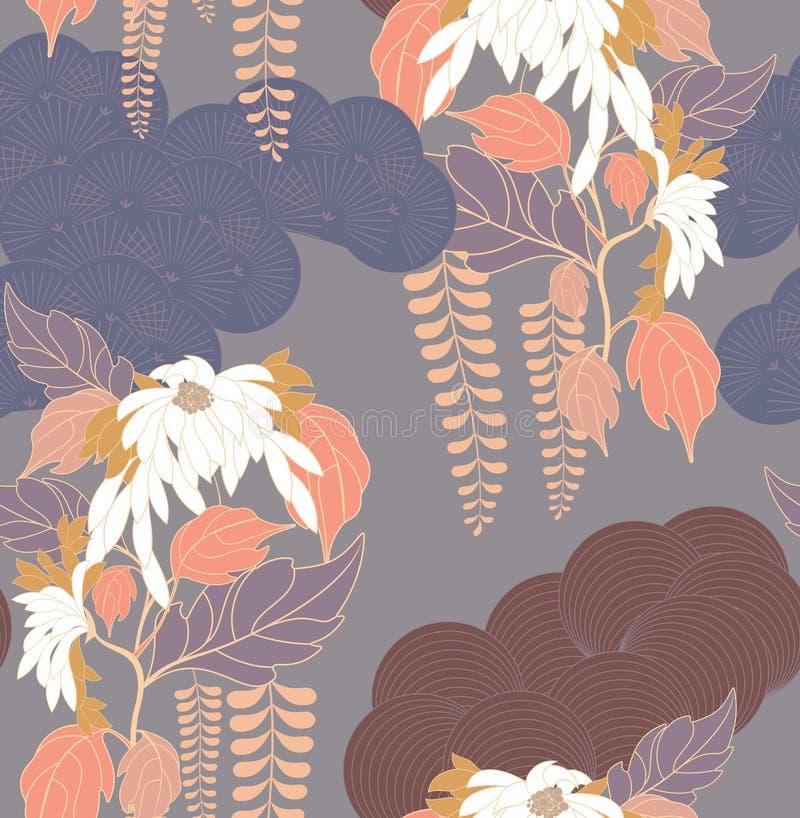 Aster flower Japanese garden blue stock illustration