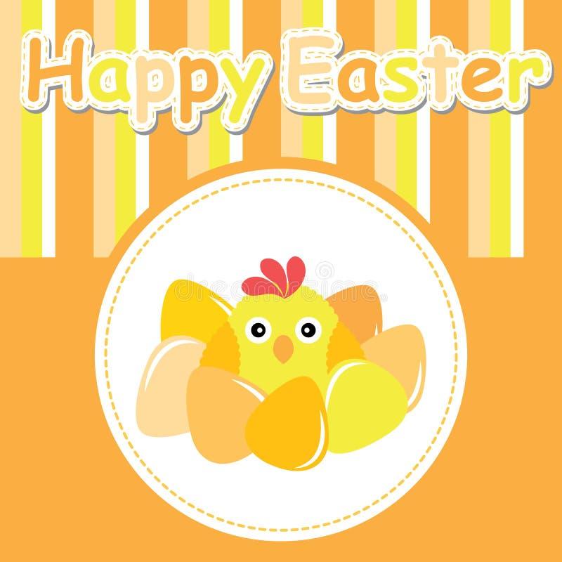 Aster karta z ślicznym kurczątkiem i kolorowym jajkiem ilustracja wektor