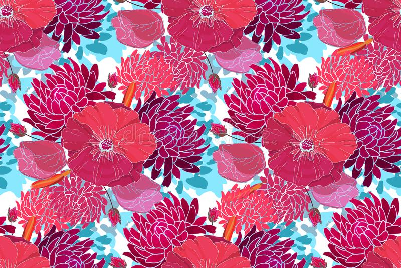 Aster porpora, rosa, malva rossa royalty illustrazione gratis