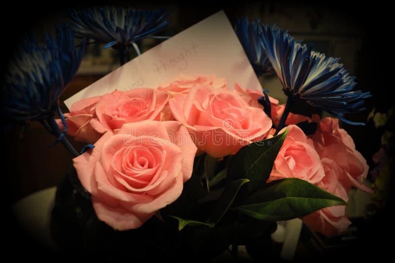 Asteres azules y rosas rosadas fotografía de archivo libre de regalías
