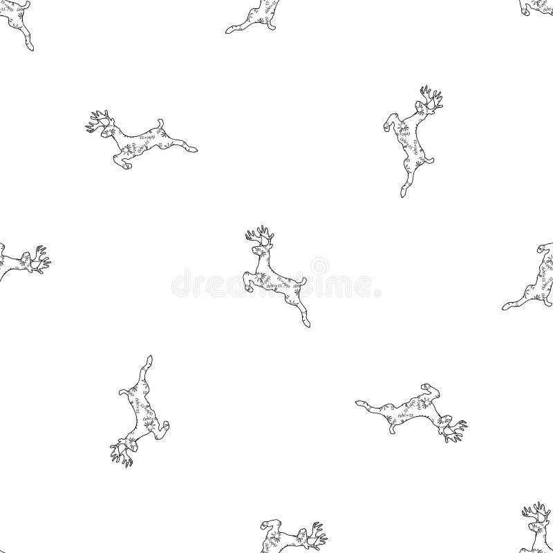 Asterisken van de het patroonsneeuwvlok van Kerstmisherten de eenvoudige naadloze stock illustratie