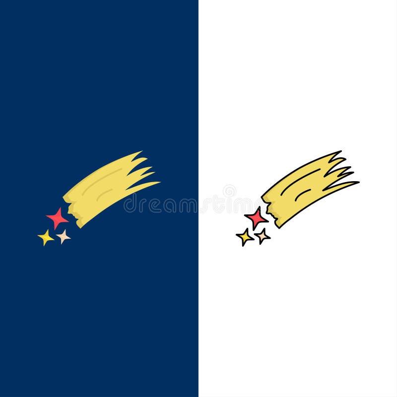 Asteroïde, astronomie, météore, l'espace, vecteur plat d'icône de couleur de comète illustration libre de droits