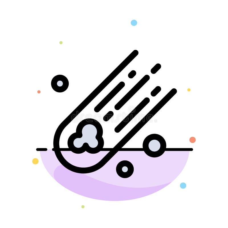 Asteroïde, comète, calibre plat d'icône de couleur d'abrégé sur l'espace illustration de vecteur
