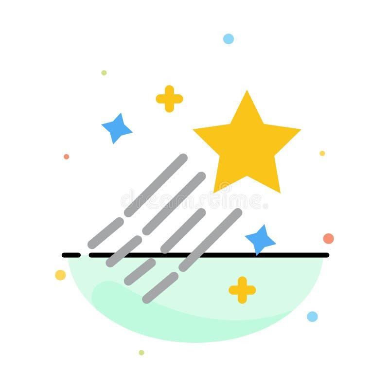 Asteroïde, comète, l'espace, calibre plat d'icône de couleur d'abrégé sur étoile illustration stock